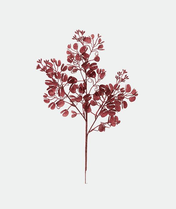 Ramo plastica eucalipto burgundy glitter 45 cm