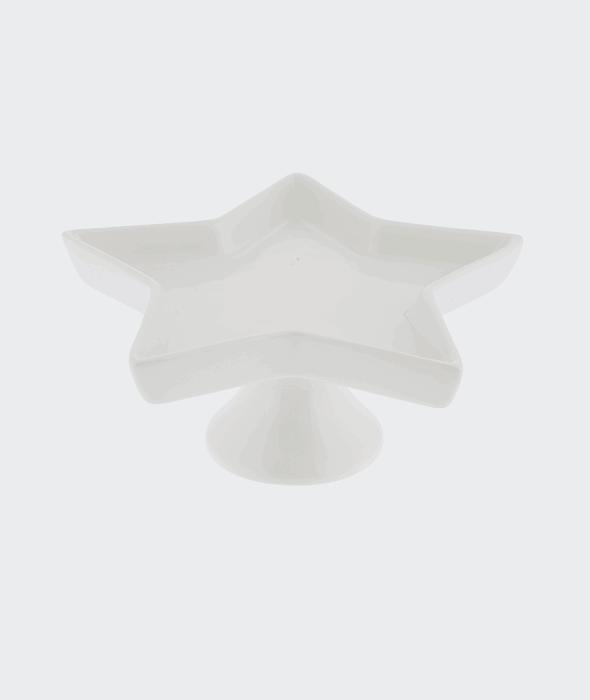Alzatina stella ceramica bianca 20×9 cm