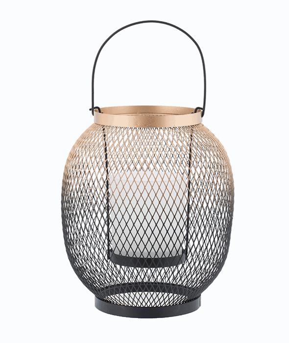 Lanterna filo metallo nero-oro h.25 cm