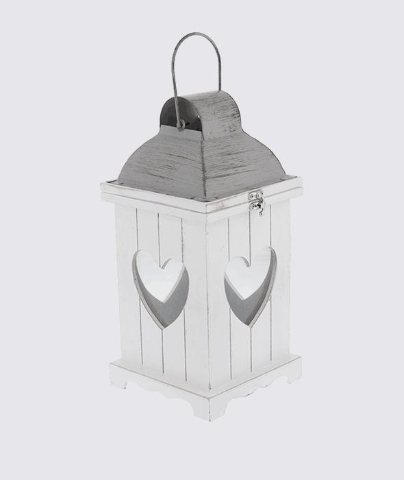 Lanterna bianca legno -metallo traforo cuore h.32 cm