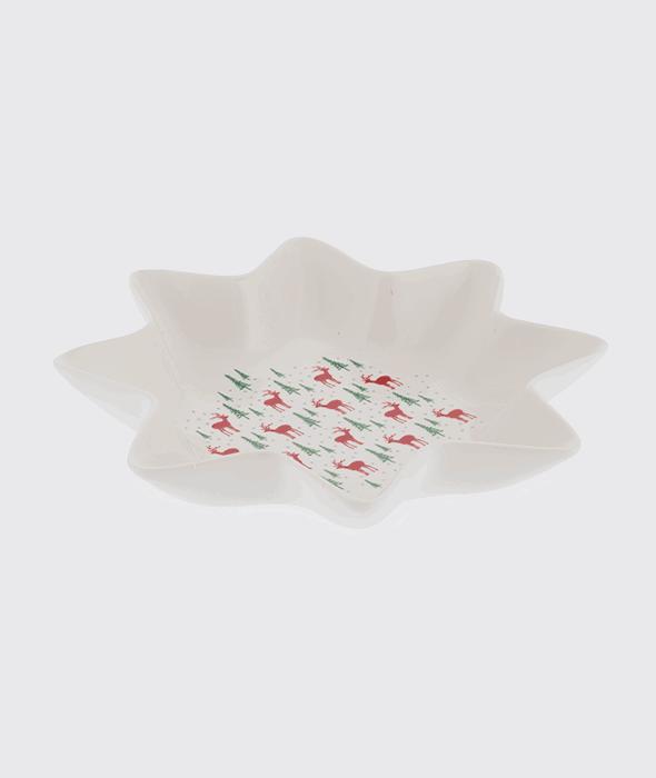 Ciotola ceramica bianca decorata 21×4 cm