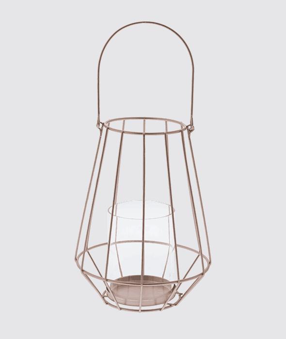 Lanterna filo metallo color rame 15×32 cm