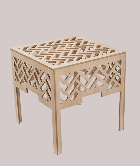 Tavolino legno traforato 50x50x51 cm