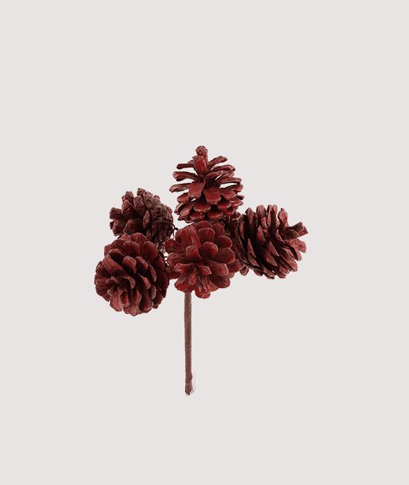 Pick 6 pigne naturali rosse 13 cm