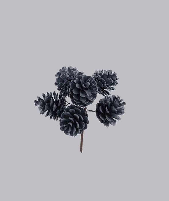 Pick 6 pigne naturali blu 13 cm