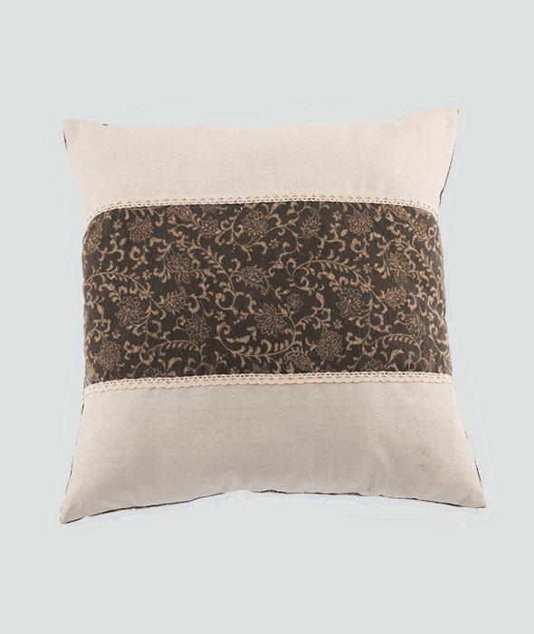 Cuscino tessuto tortora damascato 40x40cm