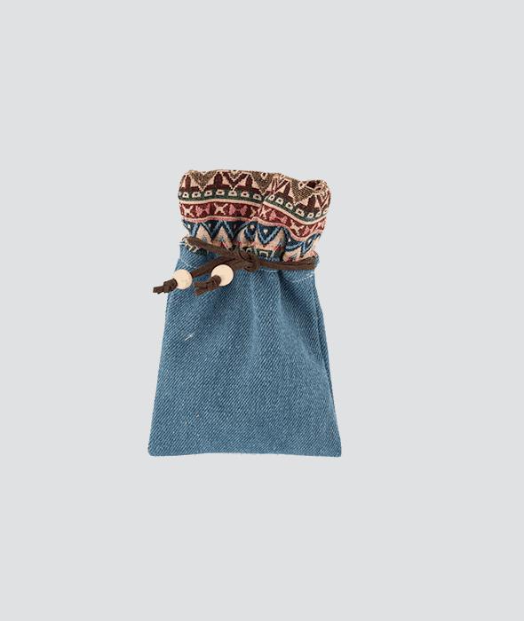 Sacchetto jeans bordo etnico 10×15 cm