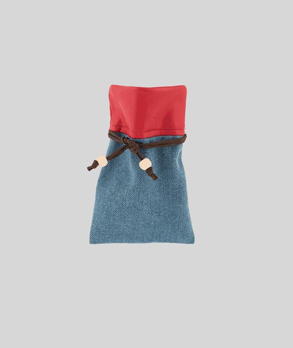 Sacchetto jeans bordo ecopelle rosso 10×15 cm