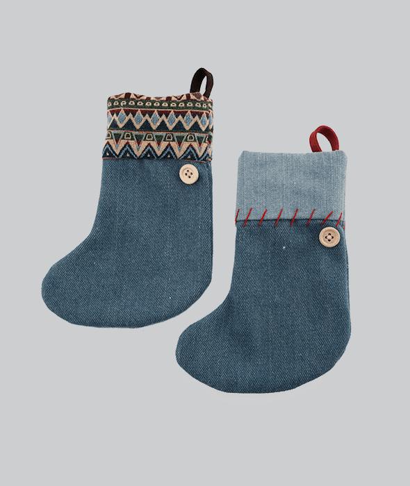 Pendente calza tessuto jeans- etnico 2 decori assortiti 14×17 cm