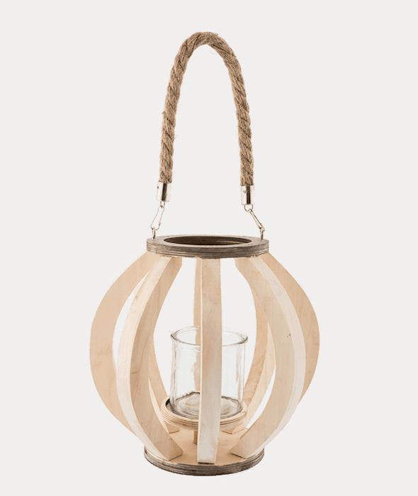 *Lanterna legno manico corda h.17 cm*