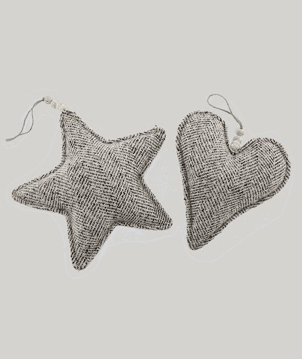 *Pendente stella/cuore tessuto melange bianco-nero 24/21 cm*