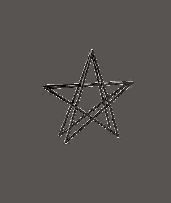 Stella bidimensionale metallo nero 26 cm