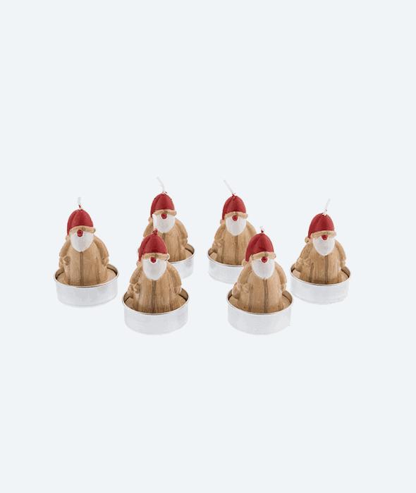 6 T-light babbo effetto legno h.6 cm