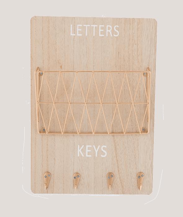 Portalettere-chiavi legno e metallo color rame 24×35 cm
