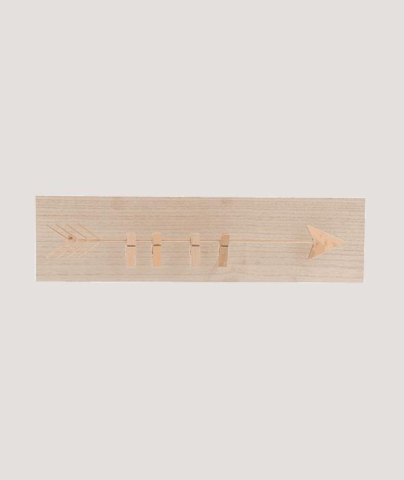 Portamemo legno freccia metallo color rame  45×12 cm