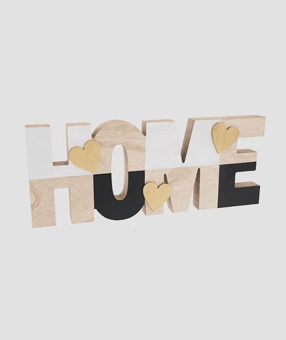 Scritta HOME legno cuori oro 36×15 cm