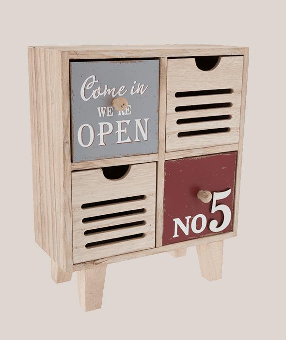 Cassettierina legno vintage 4 scomparti 22×27 cm