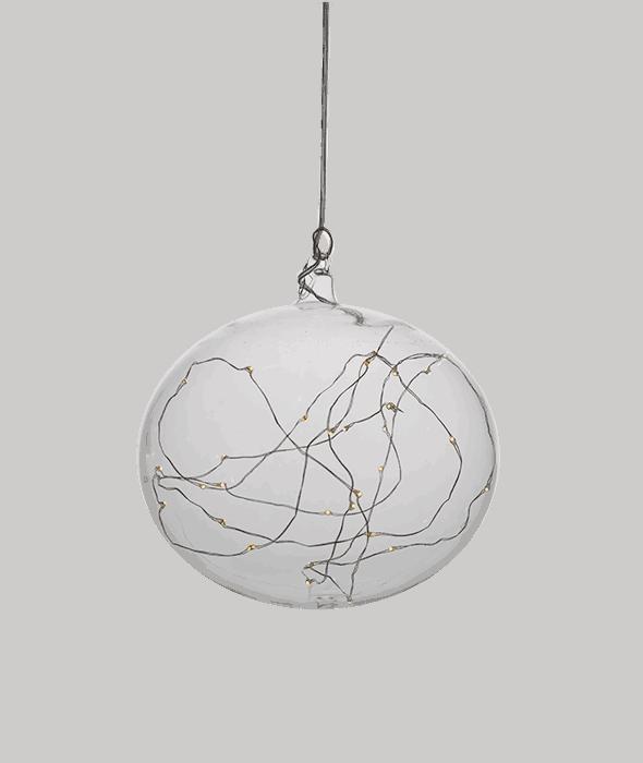 Palla di Natale vetro trasparente luci Led d.18 cm