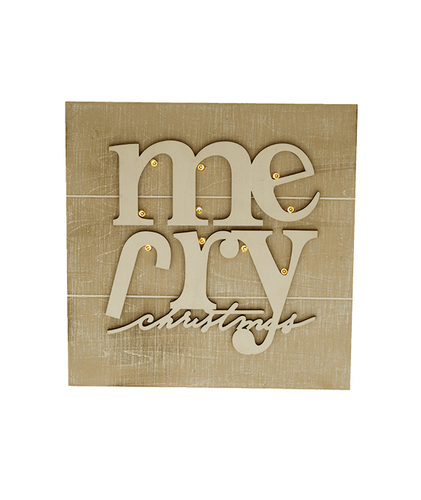 Quadretto legno sbiancato scritta e luce 25×25 cm