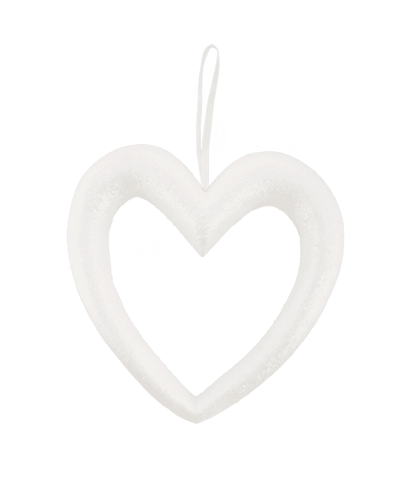 Pendente polistirolo cuore bianco glitter 36×36 cm