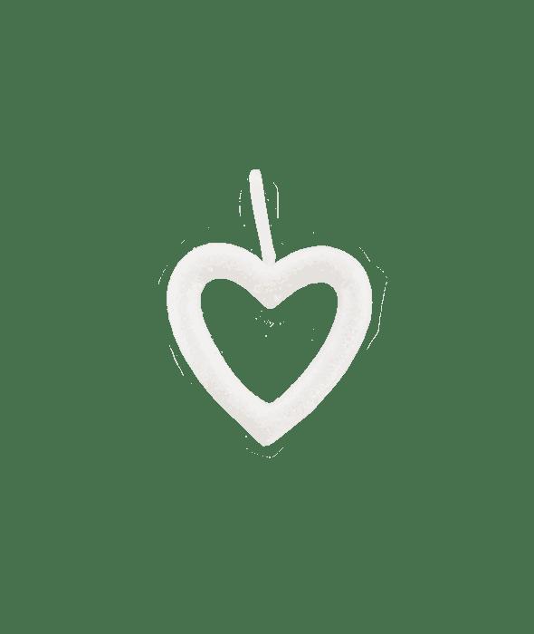 Pendente polistirolo cuore bianco glitter 16×17 cm