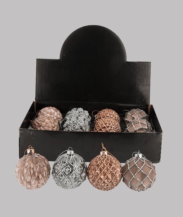 Palla di Natale vetro tortora-copper-argento bordo rilievo glitter d.8 cm
