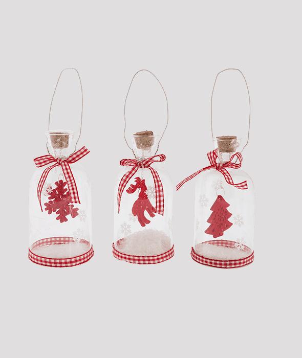 Pendente bottiglia vetro neve 3 decori assortiti 11×6 cm