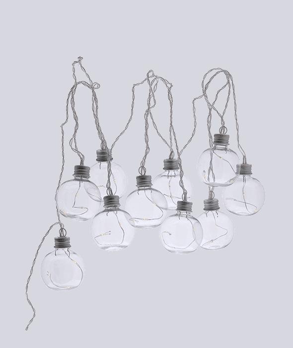 *Catena luci 300 cm 10 lampadine vetro d.6 cm*