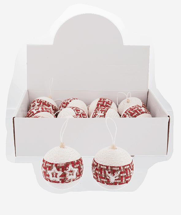 Palla di Natale polistirolo bianca intreccio rosso 2 decori assortiti d.10 cm