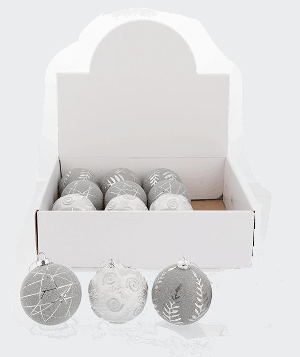 Palla di Natale polistirolo bianco-argento 3 decori assortiti d.8 cm