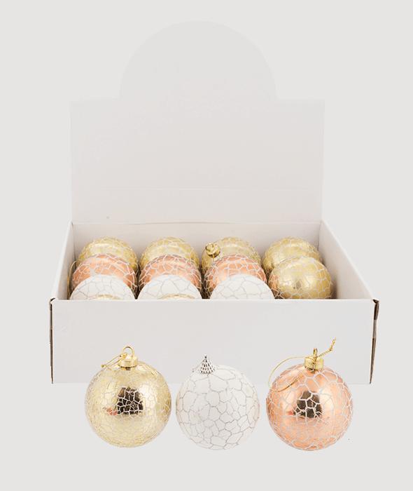 Palla di Natale polistirolo oro-copper-bianco 3 decori assortiti d.8 cm