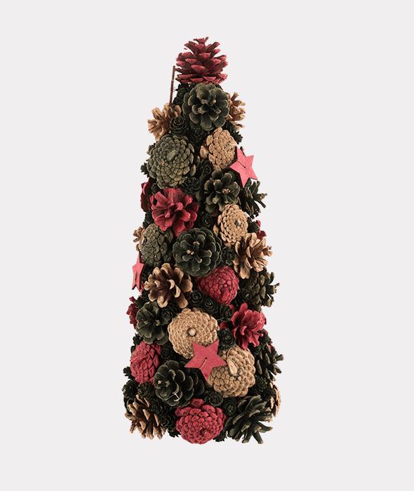 Cono pigne rosso-verde-naturale e stelle legno 18×41 cm