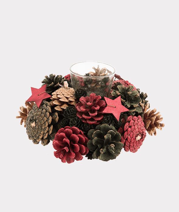 Portacandela pigne rosso-verde-naturale e stelle legno 23×11 cm