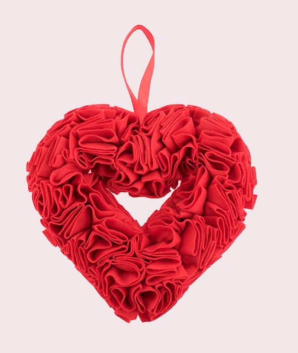 Cuore feltro rosso plissè 28x30x6 cm