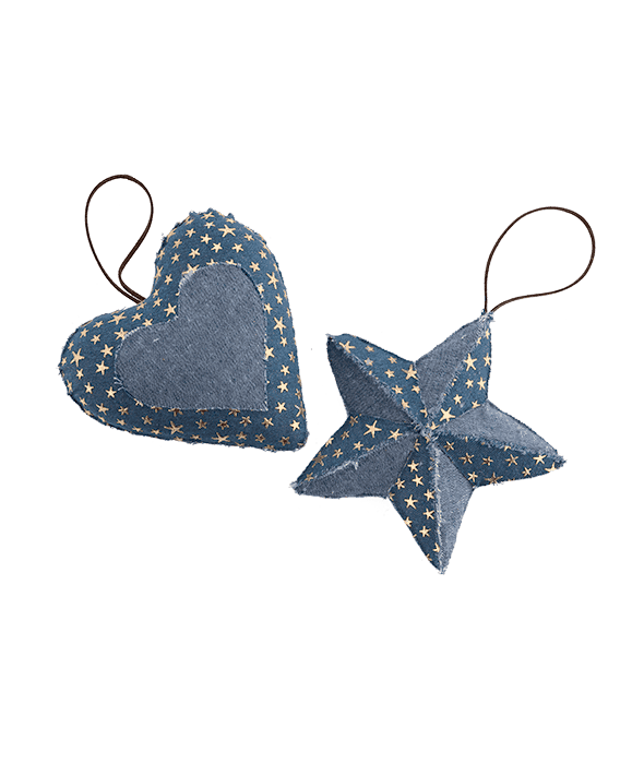 Pendente polistirolo stella/cuore tessuto jeans con stelle oro 15 cm