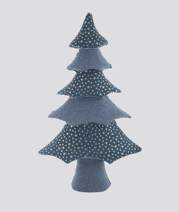 Albero polistirolo rivestimento tessuto jeans patchwork stelle 36×61 cm