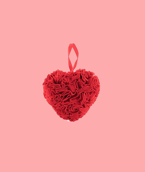 Cuore feltro rosso plisse' 22x23x13 cm