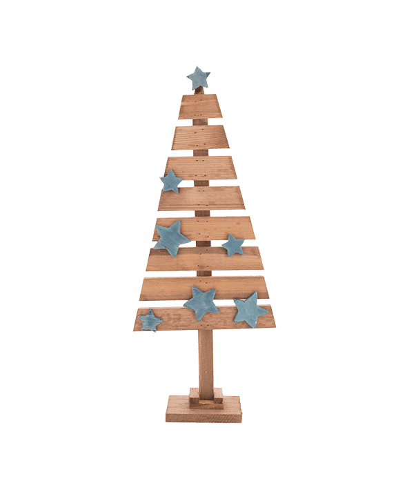 Albero legno doghe stelle blu 25×63 cm