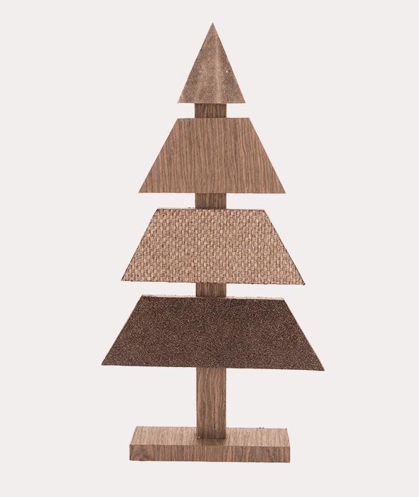 Albero legno doghe tessuto marrone ecopelle 45 cm