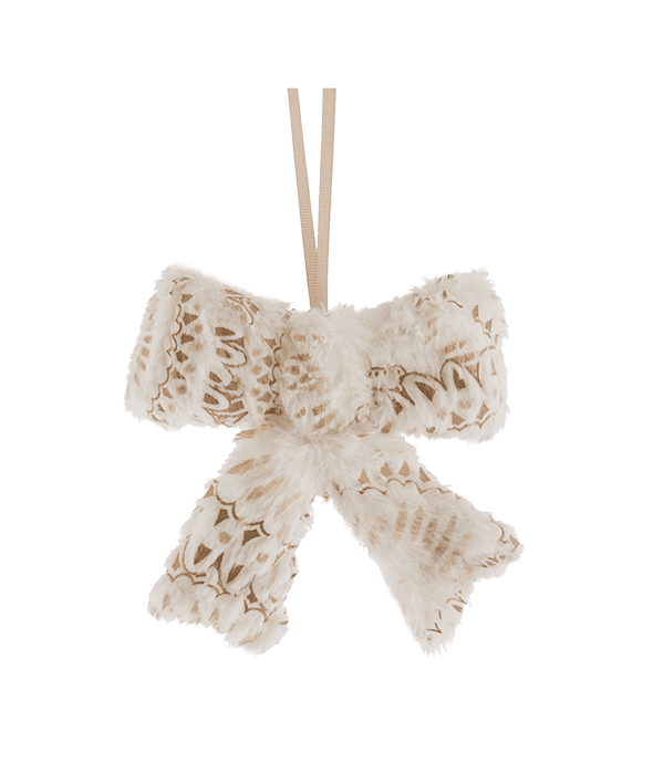 Pendente fiocco polistirolo rivestimento tessuto avorio macramé oro 13×13 cm
