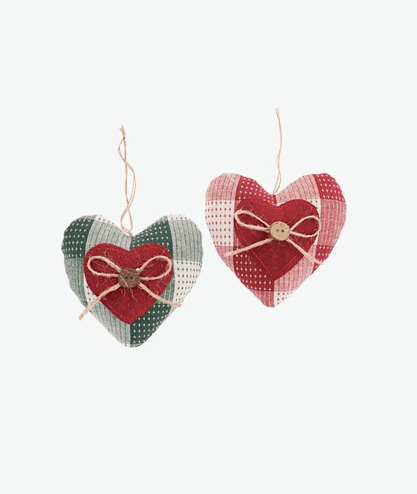 Pendente cuore stoffa puntocroce assortito rosso/verde 11 cm