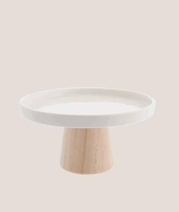 Alzatina ceramica bianca base legno 22×10 cm