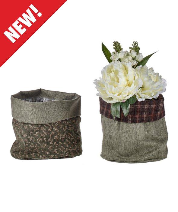 *Vaso tessuto verde/fiori d.20 h.20 cm*