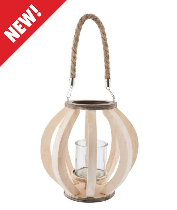 *Lanterna legno naturale/portacandela vetro d.13 h.22 cm*