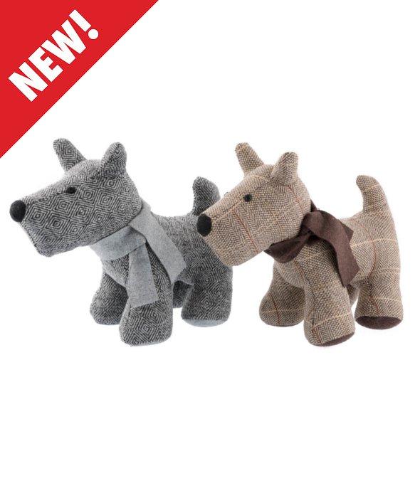 *Cane terrier tessuto spigato marrone/grigio 26 cm*