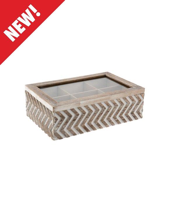 *Scatola legno effetto vintage 6 scomparti 24x8x15 cm*