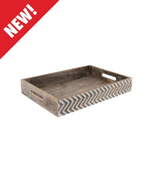 *Vassoio legno effetto vintage con intarsi 34×24 cm*