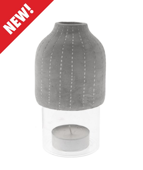 *Set portacandela vetro-cemento 2 pz 10×20 cm*