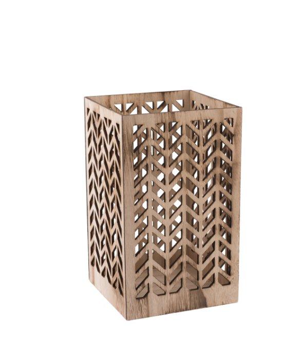 Vaso rettangolare legno traforato 21×35 cm