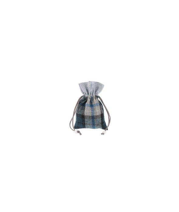 Sacchetto tessuto scozzese blu/grigio 10×15 cm
